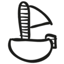 Sailboat hand drawn toy icon