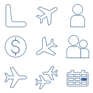 Air passenger transportation icon sets preview