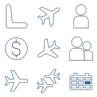 Air passenger transportation icon sets preview