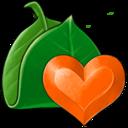 leaf,heart icon