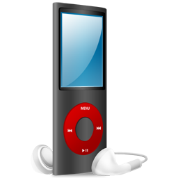 nano, red, ipod, and, black, red on icon