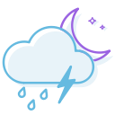 ranny, night, thunderstorm icon