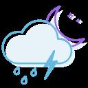 ranny, night, thunderstorm icon