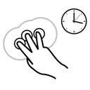 hold, gestureworks, finger, three icon
