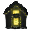 house, christmas, snowy, lights icon