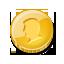 coin, single, gold icon