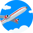 Airplane in clouds icon