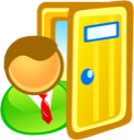 exit, sign in, door icon