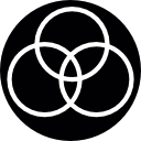 Three circles overlapping at the center icon