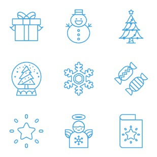 Line Christmas icon sets preview