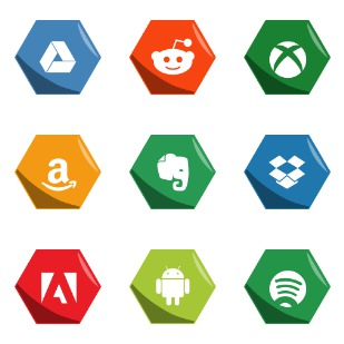 Hexagon Social Medias icon sets preview