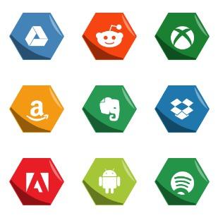 Hexagon Social Medias icon sets preview