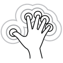 gestureworks, finger, triple, tap, five icon