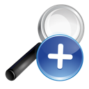 search, plus, blue icon