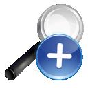 search, plus, blue icon