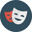 theatre, happy, drama, comedy, sad, masks icon