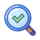 find, magnifier, search, explore, done, success, checkmark icon