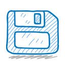 sketchy, storage, disk, sketch, floppy icon