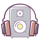 musical speaker, headphones, sound, play, volume, music, device icon