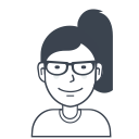 glasses, person, girl, female, user, avatar icon