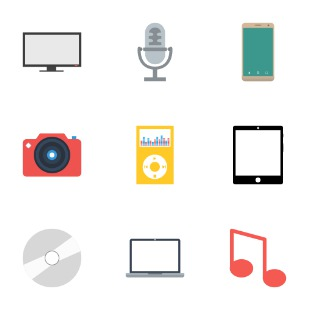 Multimedia icon sets preview