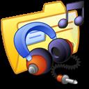 music, yellow, folder icon