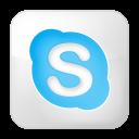 social skype box white icon