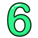 six, study, green, numbers, number icon