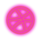 dribbble, set, neon, media, social icon