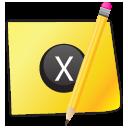 note, edit, close icon