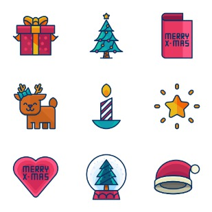Filled Line Christmas icon sets preview