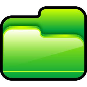 green, open, folder icon