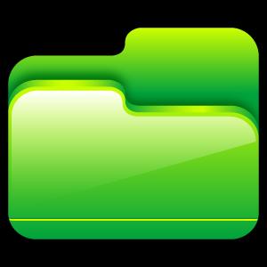 green, open, folder icon