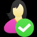 Female user accept icon