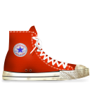 dirty, converse, red icon