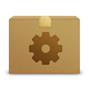 package, gear icon