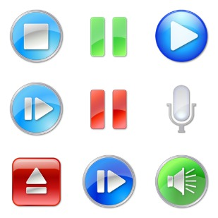 Play Stop Pause icon sets preview