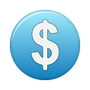currency, dollar, investment, funding, blue icon