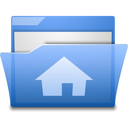 open, house, home, folder, blue icon