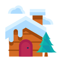 house, cabin, home, winter, forest, tree, cloud icon