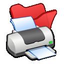 printer, red, folder icon