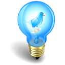 twitter, light, bulb icon