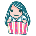 box, girl, ll, in icon