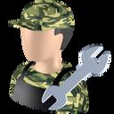 serviceman, repairer, repairman, shopman, fettler icon