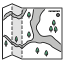 journey, map, location, paper, travel, navigation, trip icon