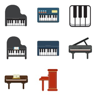 Piano keyboard icon sets preview