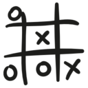 Tic tac toe hand drawn game icon