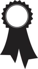 Round pennant with ribbon icon