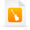 music, instrument, guitar, paper, file, orange, document icon