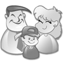family, users, grey icon